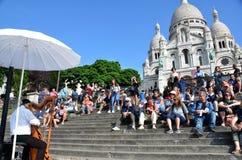 Αρπιστής σε sacre-Coeur, Παρίσι Στοκ Φωτογραφία