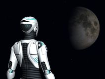 αρρενωπή κοιτάζοντας διαστημική γυναίκα Στοκ Φωτογραφίες