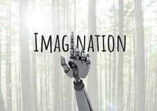 Αρρενωπό κείμενο υπόδειξης και φαντασίας χεριών με το δάσος Στοκ εικόνες με δικαίωμα ελεύθερης χρήσης