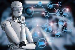 Αρρενωπό ρομπότ με το βιομηχανικό δίκτυο διανυσματική απεικόνιση