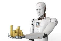Αρρενωπό ρομπότ που κρατά τα χρυσά νομίσματα ελεύθερη απεικόνιση δικαιώματος