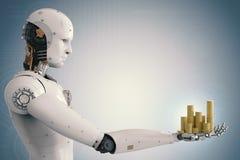 Αρρενωπό ρομπότ που κρατά τα χρυσά νομίσματα διανυσματική απεικόνιση