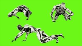 Αρρενωπό σύρσιμο ρομπότ Ρεαλιστικός περιτυλίχτηκε κίνηση στο πράσινο υπόβαθρο οθόνης 4K απεικόνιση αποθεμάτων