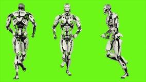 Αρρενωπό τρέξιμο ρομπότ Ρεαλιστικός περιτυλίχτηκε κίνηση στο πράσινο υπόβαθρο οθόνης 4K ελεύθερη απεικόνιση δικαιώματος