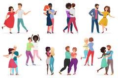 Αρσενικά και θηλυκά ζευγάρια των χορευτών Ζεύγος ανδρών και γυναικών που εκτελεί το χορό στο σχολείο, στούντιο Ομάδα νέου ευτυχού ελεύθερη απεικόνιση δικαιώματος