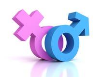 Αρσενικά και θηλυκά σύμβολα φύλων γένους Στοκ εικόνα με δικαίωμα ελεύθερης χρήσης