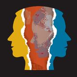 Αρσενικά κεφάλια εγγράφου σχιζοφρένιας σχισμένα κατάθλιψη διανυσματική απεικόνιση