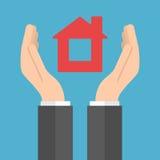 Αρσενικά χέρια που κρατούν το σπίτι διανυσματική απεικόνιση