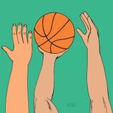 Αρσενικά χέρια που φθάνουν για τη σφαίρα καλαθιών Παιχνίδι, κράτημα, ρίψη Συρμένο χέρι χρωματισμένο σκίτσο Στην πράσινη ανασκόπησ ελεύθερη απεικόνιση δικαιώματος
