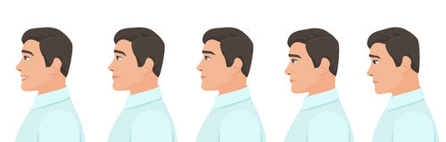 Αρσενικές εκφράσεις ειδώλων σχεδιαγράμματος καθορισμένες Του προσώπου συγκινήσεις σχεδιαγράμματος ατόμων από τη θλίψη στην ευτυχί διανυσματική απεικόνιση