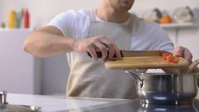 Αρσενικές τέμνουσες ντομάτες μαγείρων και προσθήκη στο τηγάνι, που προετοιμάζει το γεύμα, διατροφή απόθεμα βίντεο