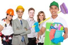 Αρσενική καθαρίζοντας υπηρεσία και άλλοι επαγγελματίες στοκ φωτογραφία με δικαίωμα ελεύθερης χρήσης