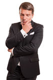Αρσενική πρότυπη χειρονομία σκέψης, που απομονώνεται σε ένα άσπρο υπόβαθρο Στοκ φωτογραφίες με δικαίωμα ελεύθερης χρήσης