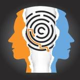 Αρσενική σχιζοφρένια κατάθλιψης σκιαγραφιών κεφαλιών απεικόνιση αποθεμάτων