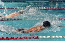 Αρσενικοί κολυμβητές ελεύθερης κολύμβησης σε μια στενή φυλή Στοκ φωτογραφία με δικαίωμα ελεύθερης χρήσης