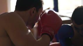 Αρσενικοί μπόξερ που πυγμαχούν στο δαχτυλίδι, εκπαιδευτικός πριν από τον ανταγωνισμό, τεχνικές άσκησης φιλμ μικρού μήκους