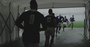 Αρσενικοί παίκτες ράγκμπι που τρέχουν μαζί σε μια σειρά στην είσοδο του σταδίου 4k απόθεμα βίντεο