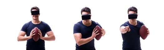 Αρσενικός αμερικανικός footbal φορέας που φορά τα γυαλιά εικονικής πραγματικότητας VR στοκ φωτογραφίες
