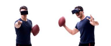 Αρσενικός αμερικανικός footbal φορέας που φορά τα γυαλιά εικονικής πραγματικότητας VR στοκ εικόνα