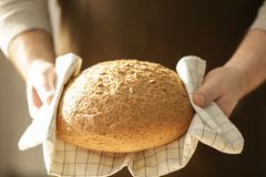 Αρσενικός αρχιμάγειρας με τη φραντζόλα του ψωμιού στοκ εικόνες