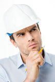 Αρσενικός αρχιτέκτονας στο σκληρό καπέλο Στοκ εικόνα με δικαίωμα ελεύθερης χρήσης