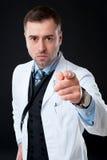 0 αρσενικός γιατρός που δείχνει σε σας Στοκ Εικόνες