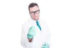 Αρσενικός γιατρός που ζητά τη χειρονομία δωροδοκιών χρημάτων Στοκ Φωτογραφίες