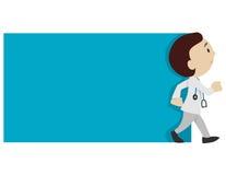 Αρσενικός γιατρός που περπατά με τον κενό πίνακα διανυσματική απεικόνιση