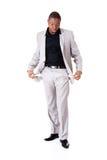 Αρσενικός επιχειρηματίας που παρουσιάζει ανοικτές τσέπες. Στοκ φωτογραφία με δικαίωμα ελεύθερης χρήσης