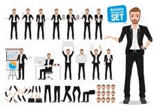 Αρσενικός επιχειρησιακός διανυσματικός χαρακτήρας - σύνολο Δημιουργία χαρακτήρα κινουμένων σχεδίων επιχειρησιακών ατόμων απεικόνιση αποθεμάτων