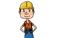 Αρσενικός εργάτης οικοδομών στο κίτρινο κράνος απεικόνιση αποθεμάτων