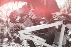 Αρσενικός ποδηλάτης βουνών που καθορίζει την αλυσίδα ποδηλάτων του Στοκ Εικόνες