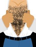 Αρσενικός τριχωτός κορμός Το μυϊκό στήθος των ατόμων βγάζει το πουκάμισό του ελεύθερη απεικόνιση δικαιώματος