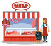 Αρσενικός χαρακτήρας, πωλητής πίσω από το μετρητή κρέατος, με τις λιχουδιές κρέατος απεικόνιση αποθεμάτων
