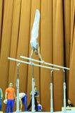 Αρσενικός gymnast που αποδίδει στους παράλληλους φραγμούς κατά τη διάρκεια της Στέλλα Zakharova του Artistic Gymnastics Ουκρανία  Στοκ Φωτογραφία