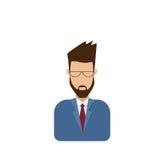 Αρσενικό άτομο ειδώλων εικονιδίων σχεδιαγράμματος, πορτρέτο γενειάδων τύπων κινούμενων σχεδίων Hipster, περιστασιακό πρόσωπο σκια Στοκ Εικόνες