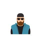 Αρσενικό άτομο ειδώλων εικονιδίων σχεδιαγράμματος, πορτρέτο γενειάδων τύπων κινούμενων σχεδίων Hipster, περιστασιακό πρόσωπο σκια Στοκ Φωτογραφίες