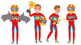 Αρσενικό διάνυσμα δρομέων σπορ αυτοκίνητο Πρωτάθλημα αγώνα Κόκκινος ομοιόμορφος θέτει Στη δράση Απεικόνιση χαρακτήρα κινουμένων σ ελεύθερη απεικόνιση δικαιώματος