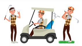 Αρσενικό διάνυσμα φορέων γκολφ Χτύπημα της σφαίρας γκολφ παιχνίδι ατόμων Διαφορετικός θέτει Απεικόνιση χαρακτήρα κινουμένων σχεδί απεικόνιση αποθεμάτων