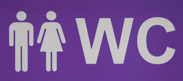 Αρσενικό και θηλυκό εικονίδιο WC που δείχνει την τουαλέτα Τοπ όψη Στοκ φωτογραφία με δικαίωμα ελεύθερης χρήσης