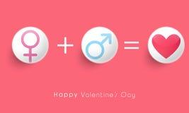 Αρσενικό και θηλυκό σύμβολο για τον εορτασμό ημέρας του βαλεντίνου Στοκ Φωτογραφία