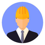 Αρσενικό κεφάλι οικοδόμων που φορά ένα κράνος Επίπεδο σχέδιο _ απεικόνιση αποθεμάτων