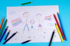 Αρσενικό ομοφυλοφιλικό ζεύγος δύο με το υιοθετημένο παιδί στοκ φωτογραφίες με δικαίωμα ελεύθερης χρήσης
