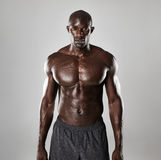 Αρσενικό πρότυπο γυμνοστήθων που στέκεται με βεβαιότητα στοκ φωτογραφίες