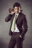 Αρσενικό πρότυπο μόδας στο επιχειρησιακό κοστούμι Στοκ φωτογραφίες με δικαίωμα ελεύθερης χρήσης