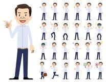 Αρσενικό σύνολο χαρακτήρα Διάφορος θέτει και συγκινήσεις Διανυσματική απεικόνιση