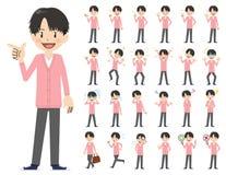 Αρσενικό σύνολο χαρακτήρα Διάφορος θέτει και συγκινήσεις Απεικόνιση αποθεμάτων