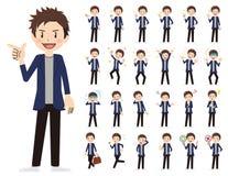 Αρσενικό σύνολο χαρακτήρα Διάφορος θέτει και συγκινήσεις Ελεύθερη απεικόνιση δικαιώματος