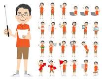 Αρσενικό σύνολο χαρακτήρα Παρουσίαση στη διάφορη δράση Ελεύθερη απεικόνιση δικαιώματος