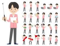 Αρσενικό σύνολο χαρακτήρα Παρουσίαση στη διάφορη δράση Απεικόνιση αποθεμάτων